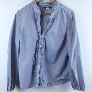 J.Crew Ruffled Button Up Shirt In Stripe M